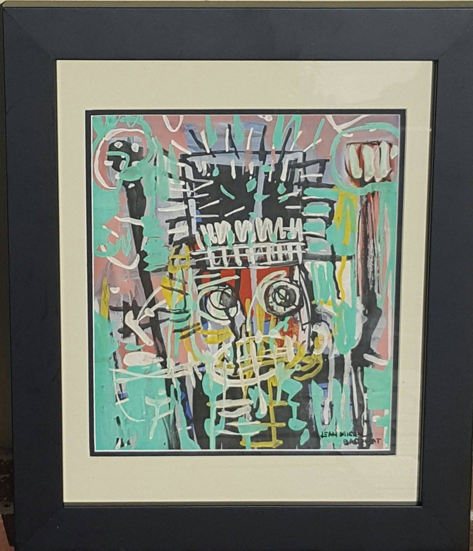Jean Michael Basquiat (1960-1988)-(attrib) (coa)Mixed