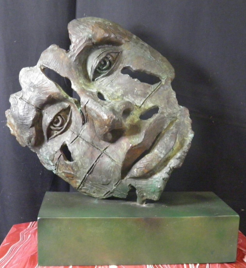 Javier Marin Sculpture , Bronze Face w/ Base sing by
