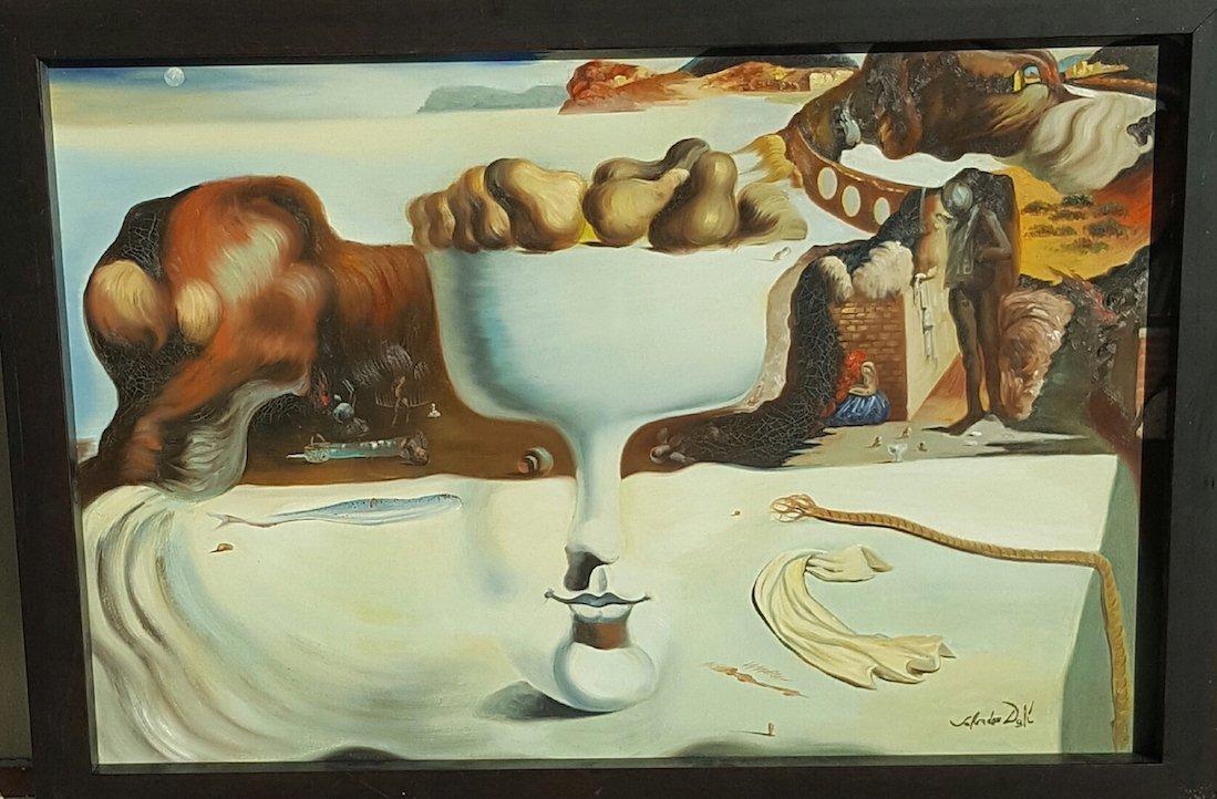 """Salvador Dali-Oil canvas-COA (Attrib.)-Size: 23""""h X"""