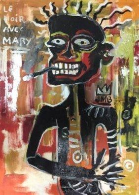 In The Manner Of: Jean Michel Basquiat (1960-1988)- Oil