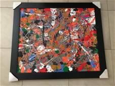 Jackson Pollock oil on canvas attrib  coa