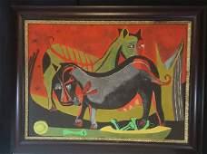Rufino Tamayo 18991991Oil on Canvas ATTRIB COA