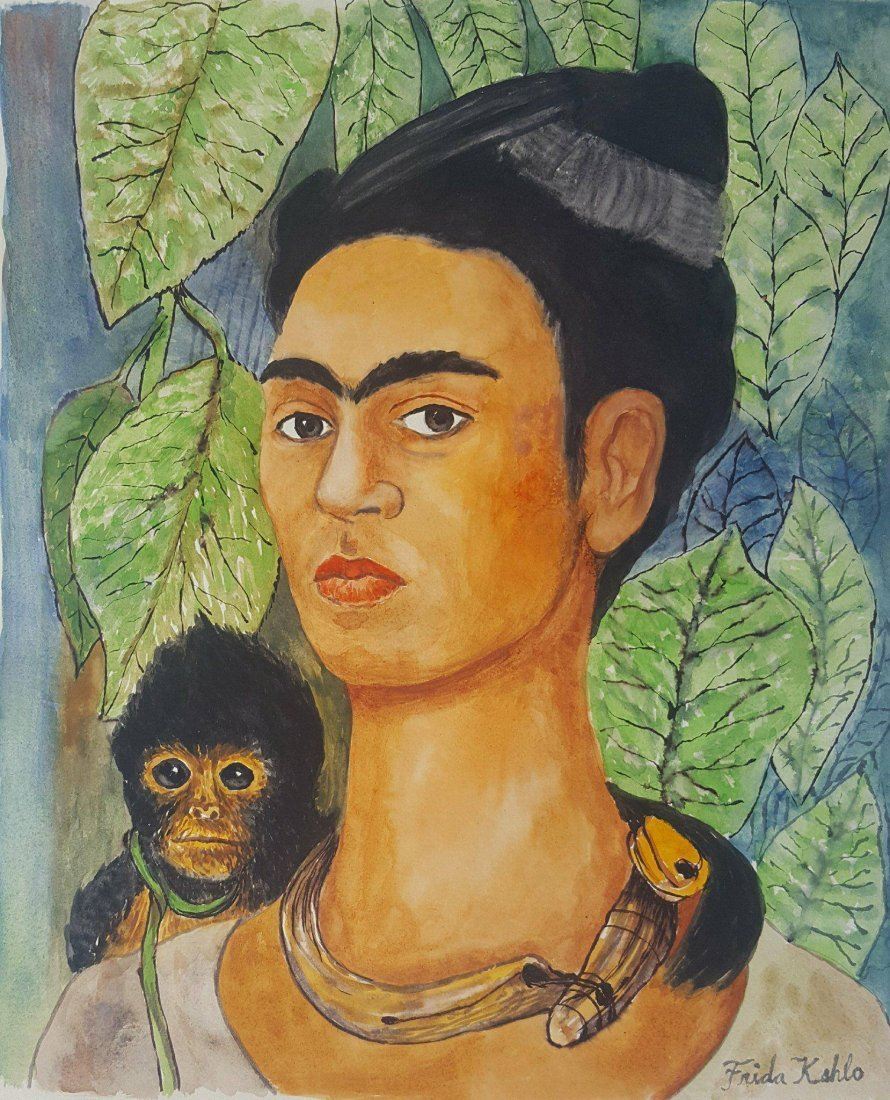 Frida Kahlo (1907-1954)-water color on paper-ATTRIB.