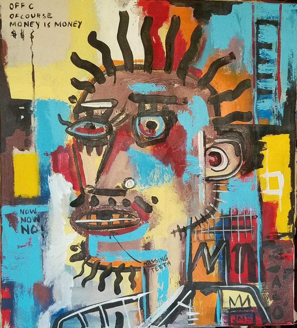 In the manner of: Jean Michel Basquiat (1960-1988)- Oil