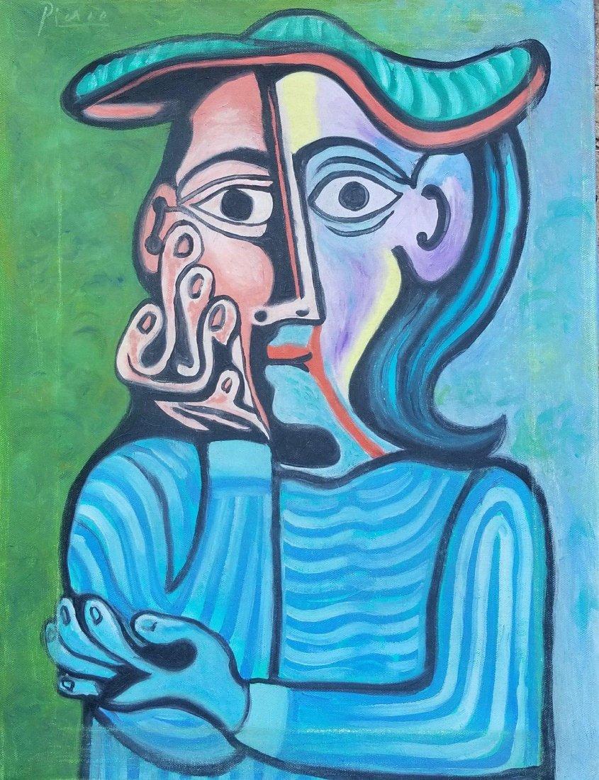 Pablo Picasso (1881-1973)-oil on canvas- ATTRIB. COA-Si