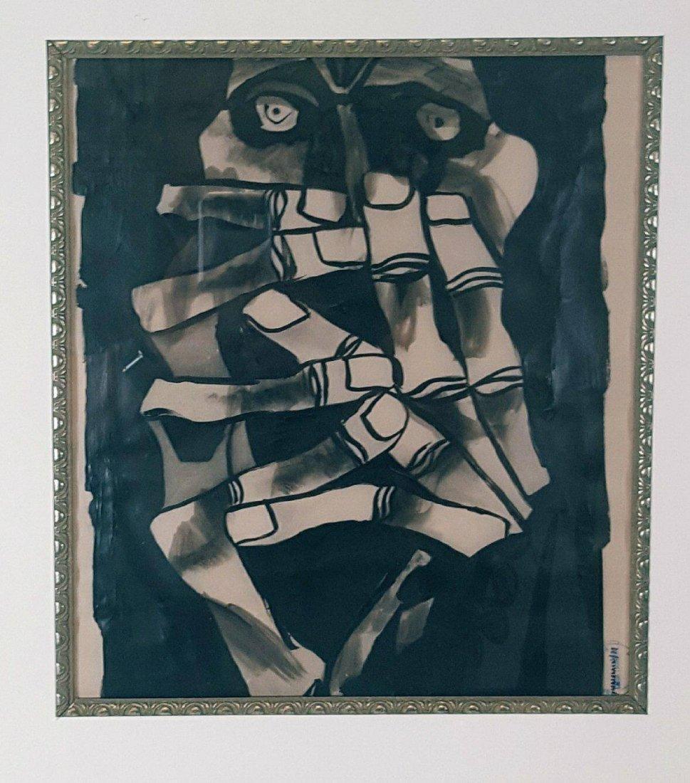 Oswaldo Guayasamin (1919-1999)-Charcoal on Pergamino,