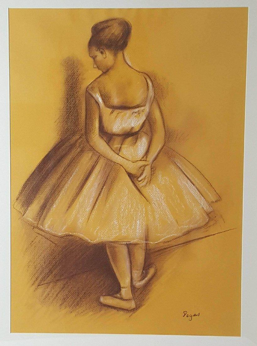 Edgar Degas-Girl dancer-Colored pastel/paper COA-Size: