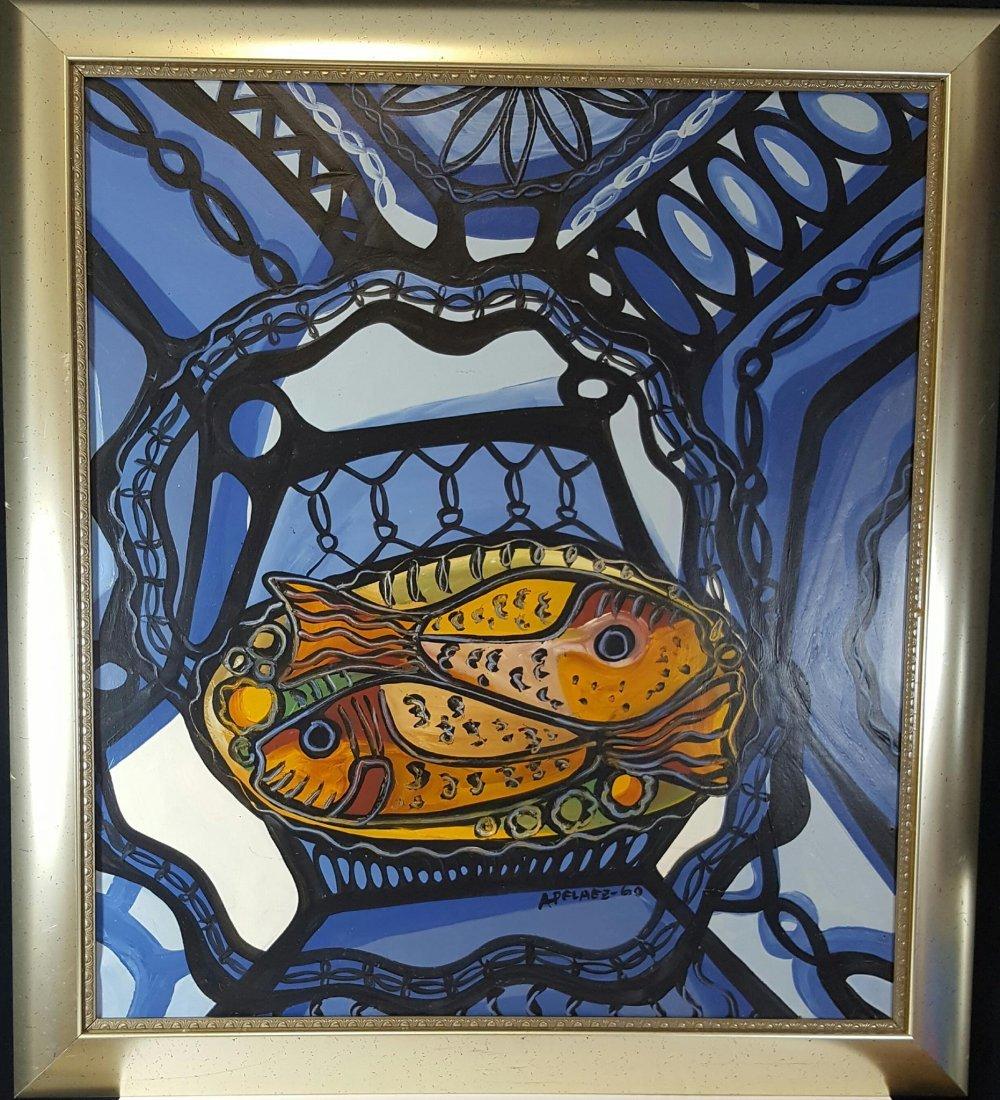 "Amelia Pelaez-Oil on canvas-COA ATTRIB.-Size: 47""h X"