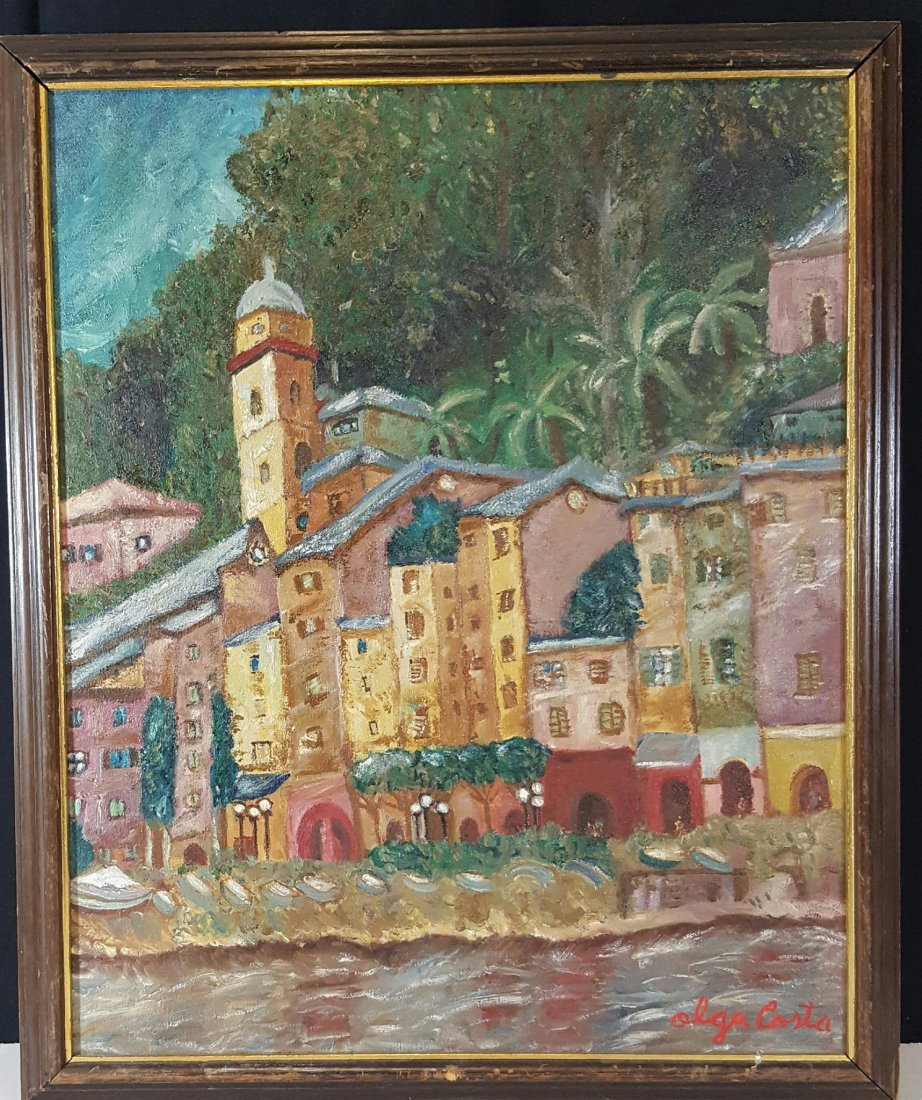 Olga Costa (1913-1993)-Village-Oil on Canvas-