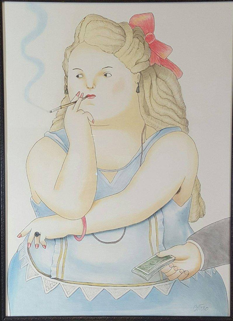 Fernando Botero- colored pencil  on Paper- ATTRIB.