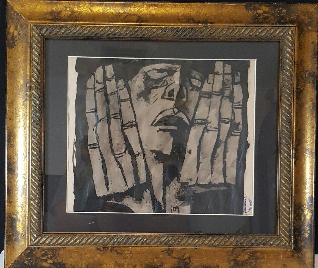 Oswaldo Guayasamin (1919-1999)-charcoal pergamino-Size: