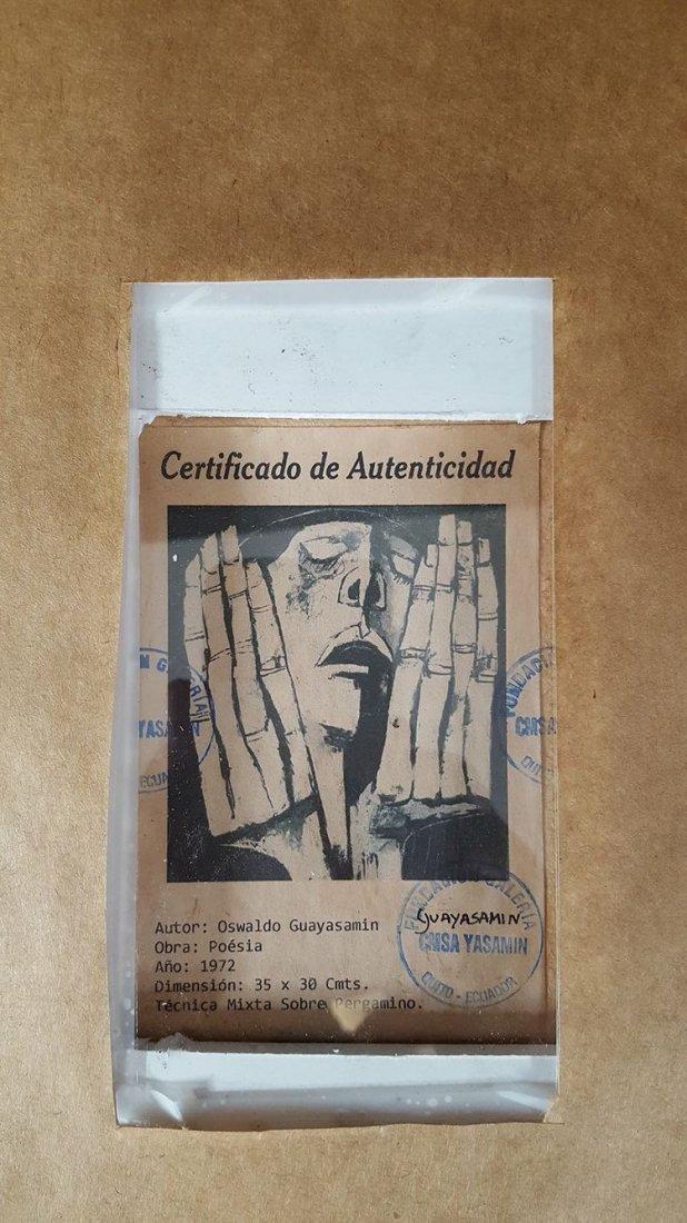 Oswaldo Guayasamin (1919-1999)-charcoal pergamino-Size: - 2
