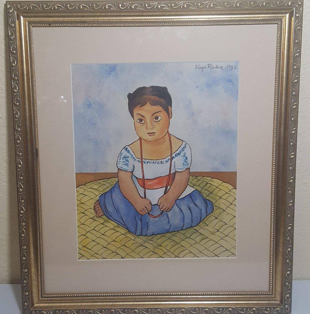 Diego Rivera-water color  on Paper-COA Attrib. - 2