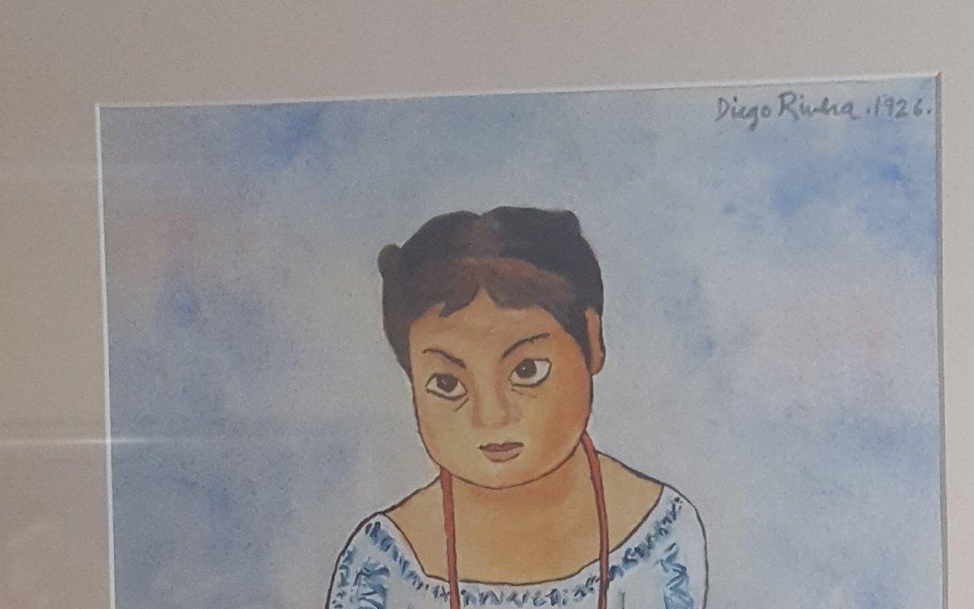 Diego Rivera-water color  on Paper-COA Attrib. - 3