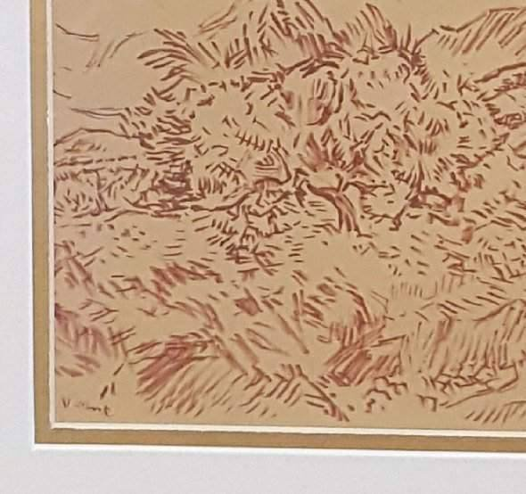"Signed Vicent  ink on paper 7""h x 10""w frame 14.5""h x"
