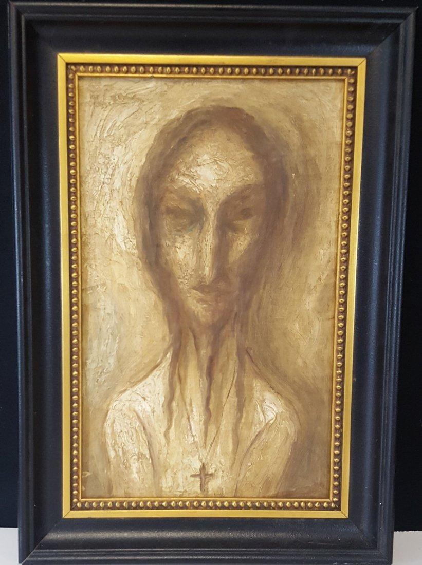 "Fidelio Ponce (attrib) (coa) oil on canvas size :16""h x"