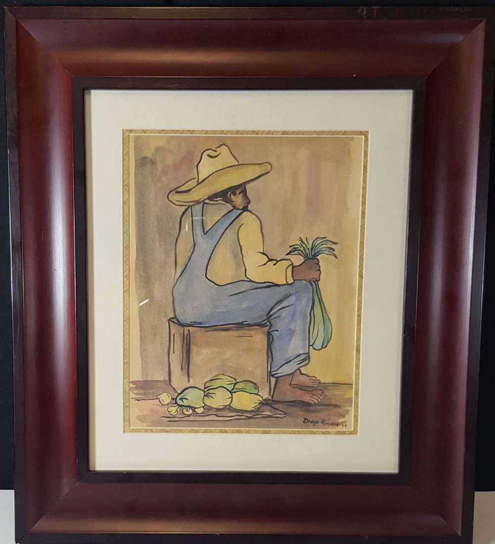 Diego Rivera-water color  on Paper-COA Attrib.