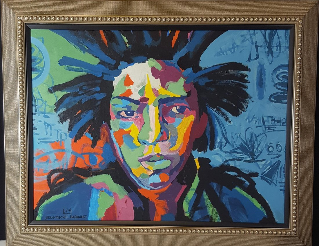 Jean Michel Basquiat (1960-1988)-attrib (coa)-Oil on
