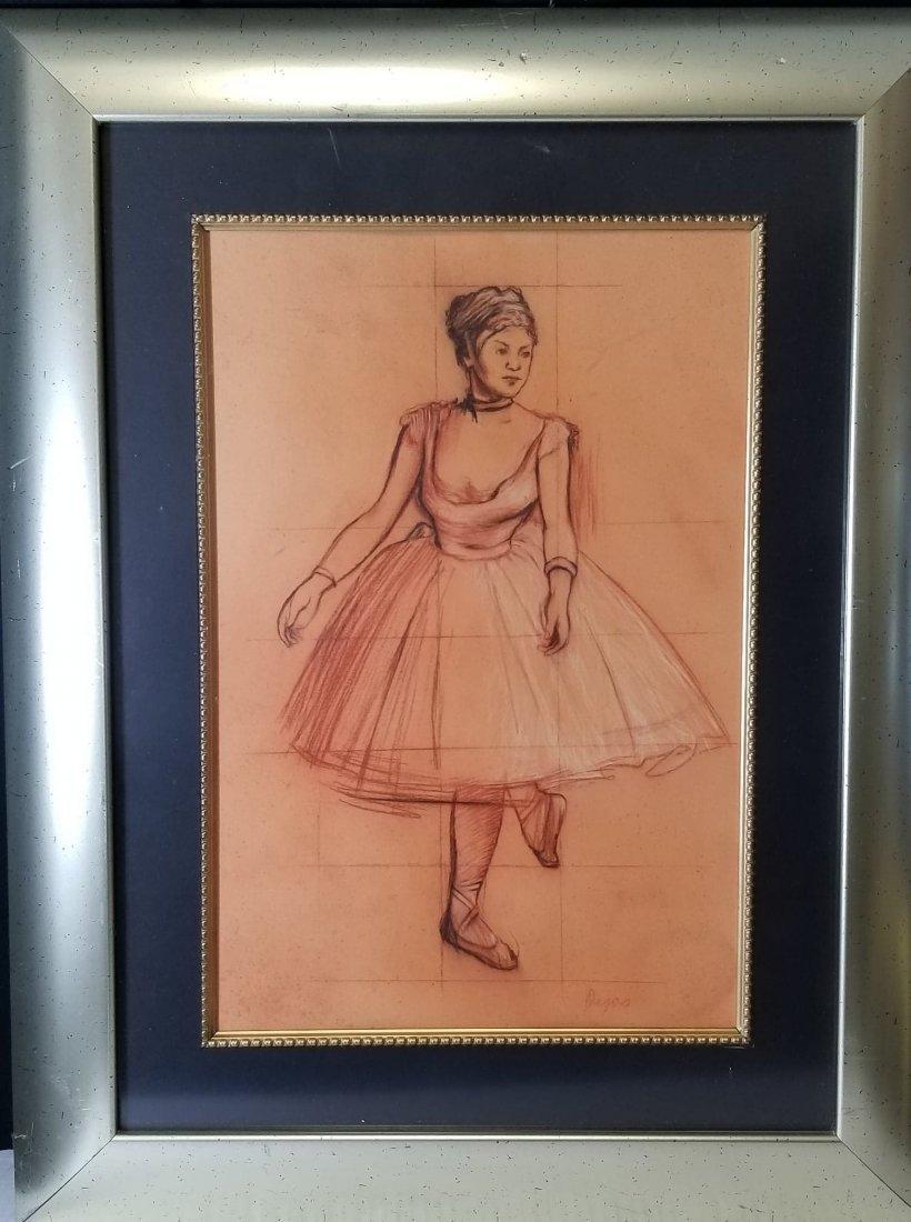 Edgar Degas-Girl dancer-Sanguinia  on paper(Attrib-