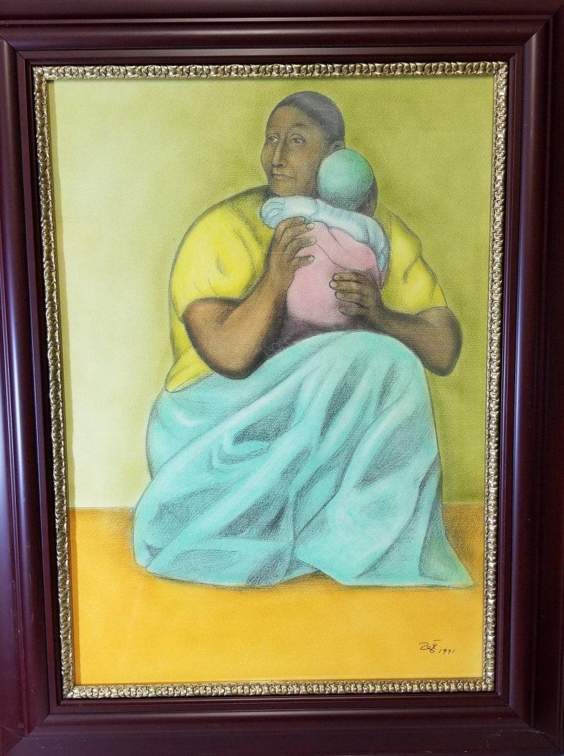 Francisco Zuniga (1912-1998)- Crayon on Paper-ATTRIB.