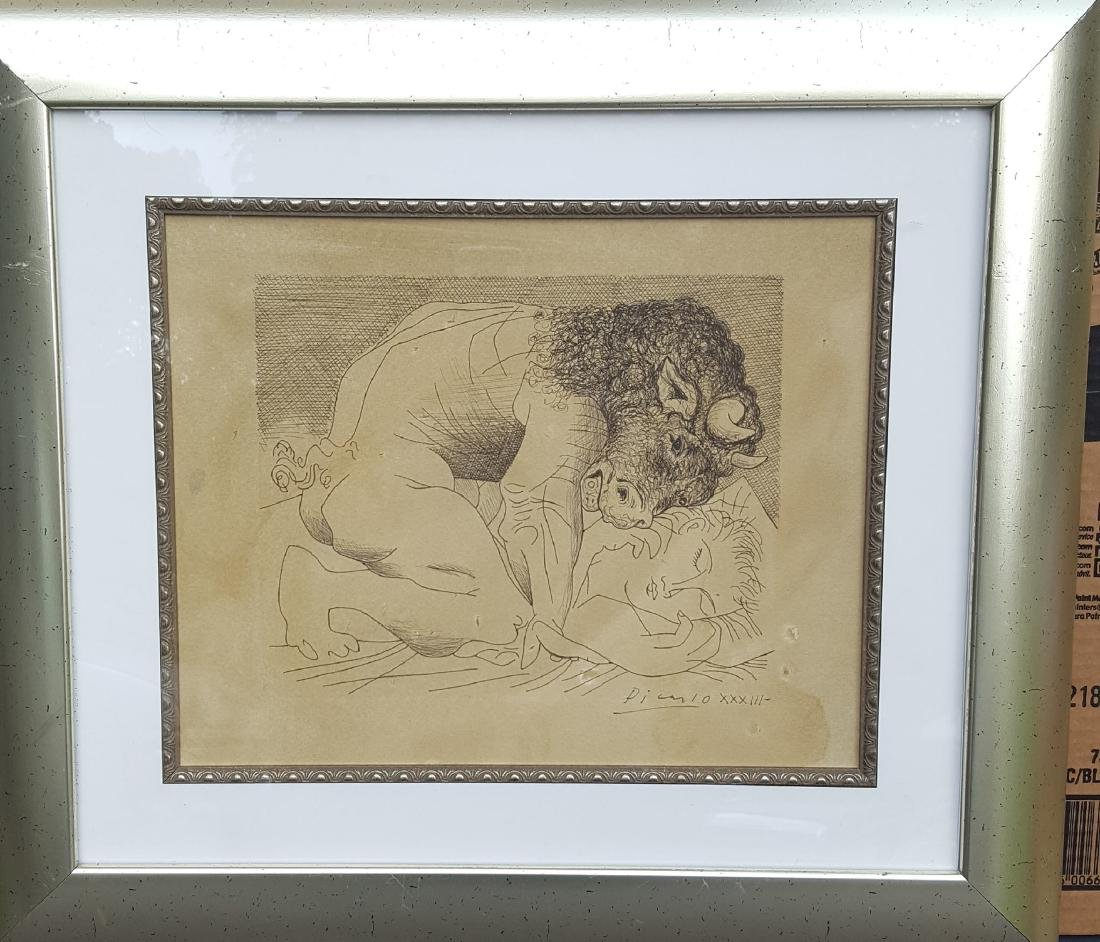 Pablo Picasso (1881-1973)-Ink on Paper- Dedicated