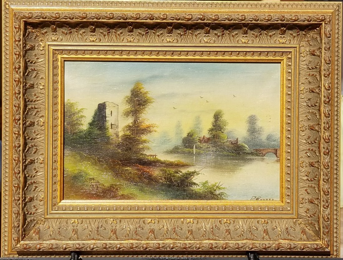 P. Rayner-Vintage, landscape painting, signed.-Oil on