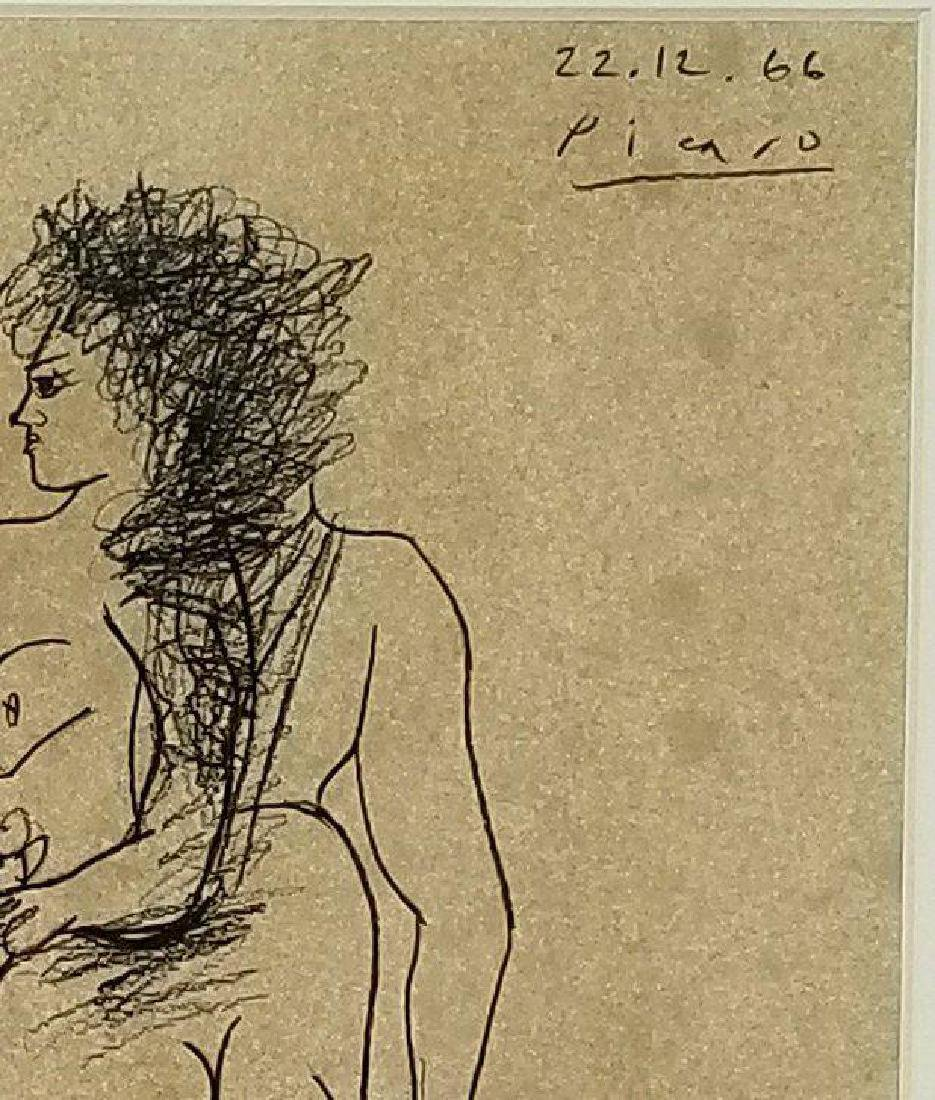 Pablo Picasso (1881-1973)-Ink on Paper- Dedicated - 2