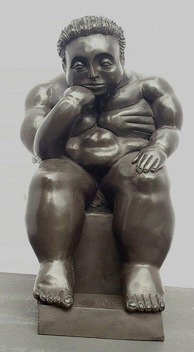Fernando Botero Bronze Thinker- ATTRIB. COA-Size:11.5