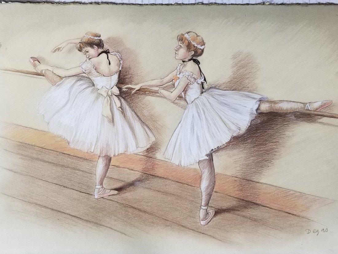 Edgar Degas-Girls dancer-Colored pastel/paper COA-Size:
