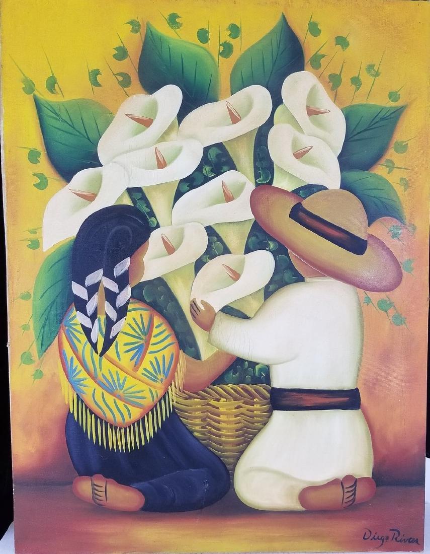 """Diego Rivera(1886-1957) - oil on canvas-"""" Ninos  con"""