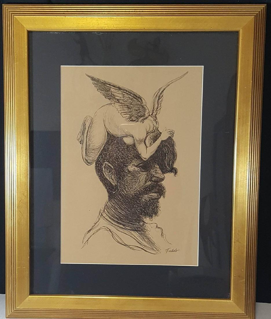 Roberto Fabelo  (1951-)- Ink on Paper-ATTRIB. COA-Size: