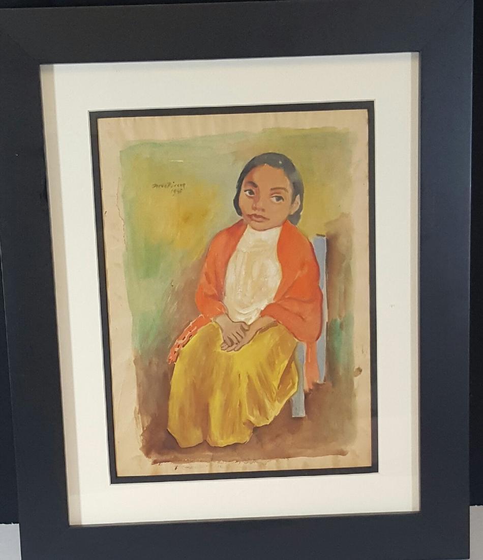 Diego Rivera-water color  on Paper-COA Attrib.