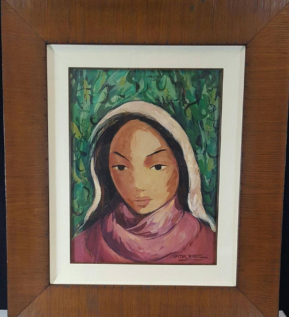 Victor Manuel-Watercolor on Paper-Attrib. COA-Size: