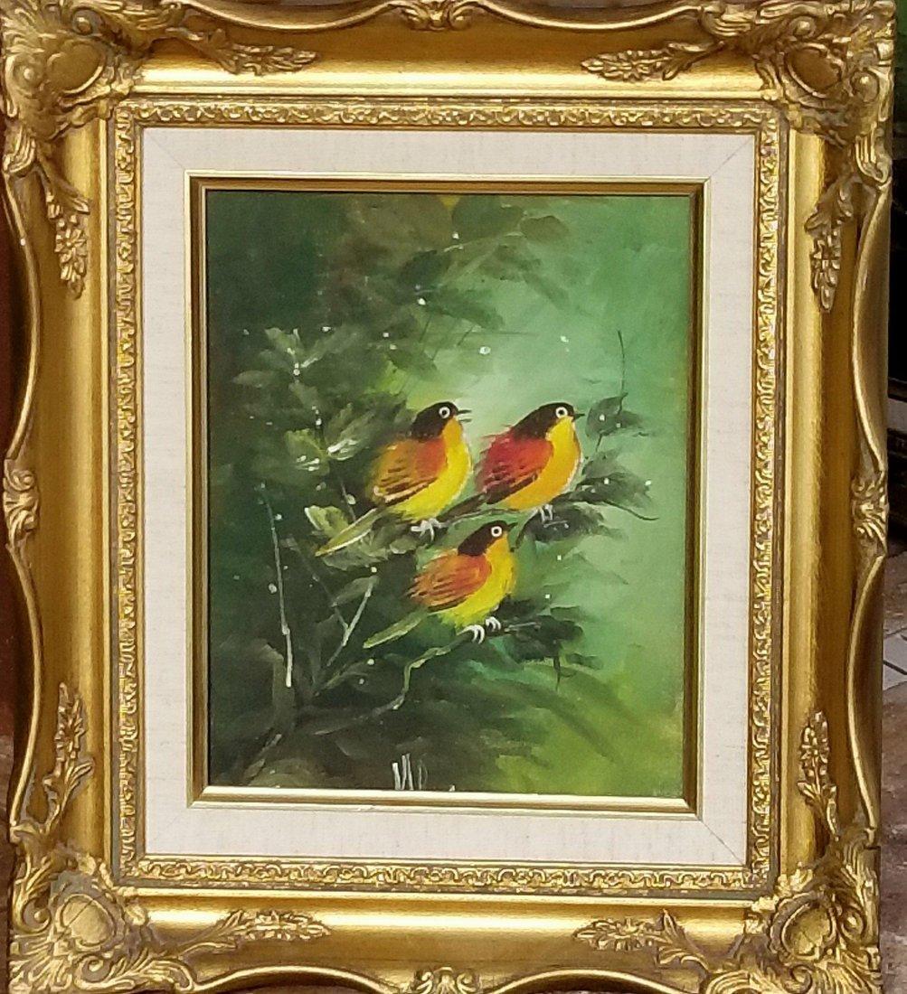 Vintage, three birds on a branch. Artist unknown,