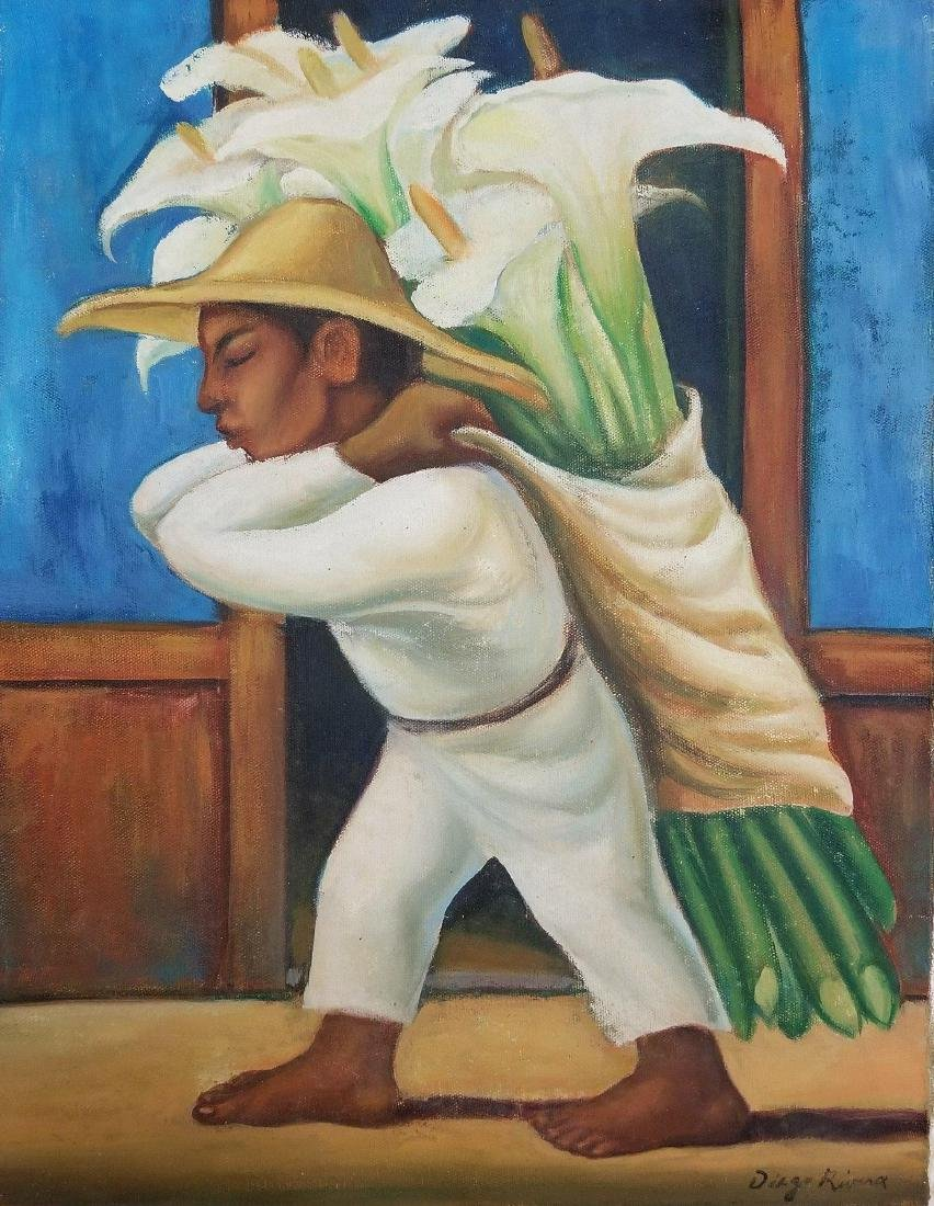 "Diego Rivera-oil on canvas COA Attrib. -Size:20h X 14""w"