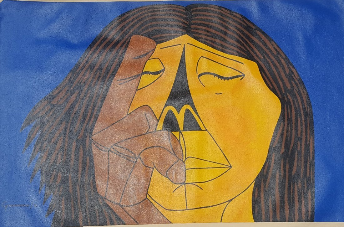 Oswaldo Guayasamin (1919-1999)-oil on canvas  singned