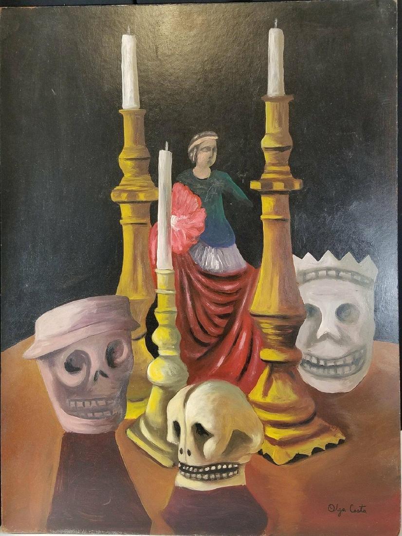 Olga Costa (1913-1993)-Village-Oil on panel-