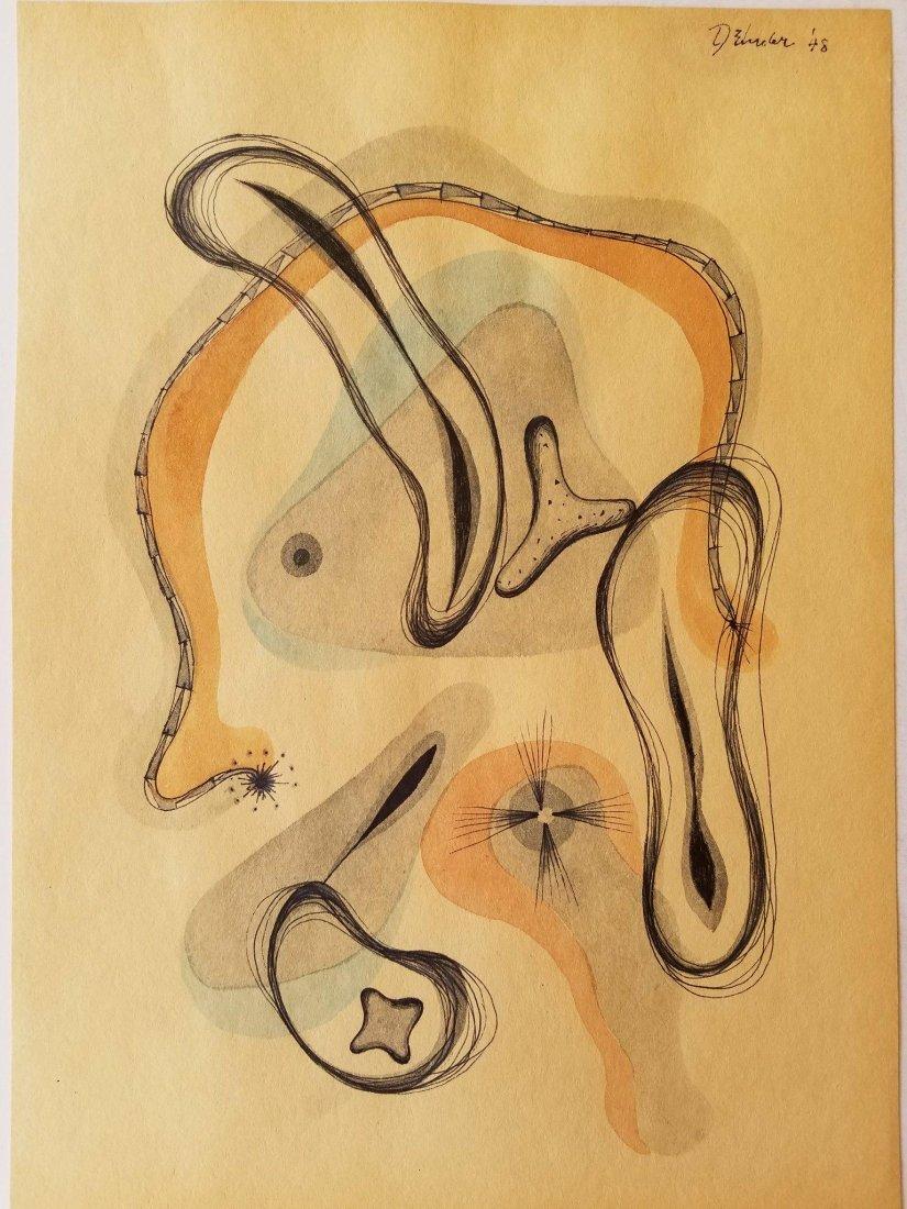 Dorothy Dehner (1901-1994) Mixed Media on Paper 1948-