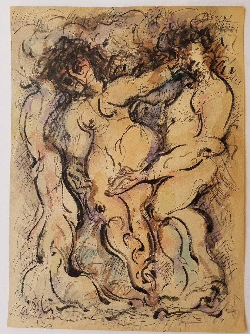 Pablo Picasso (1881-1973) Mixed Media on Paper 1970- He