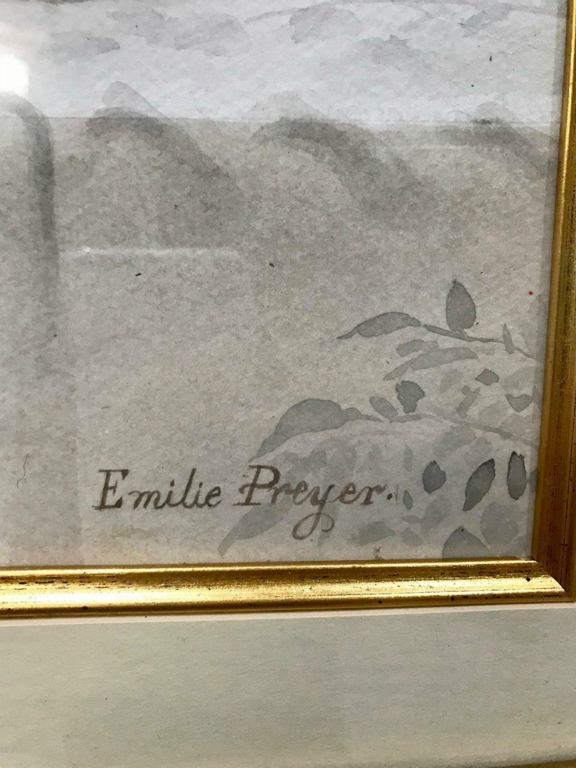 """Emelie Preyer Water color on paper  size16""""h x 21 """"w - 2"""