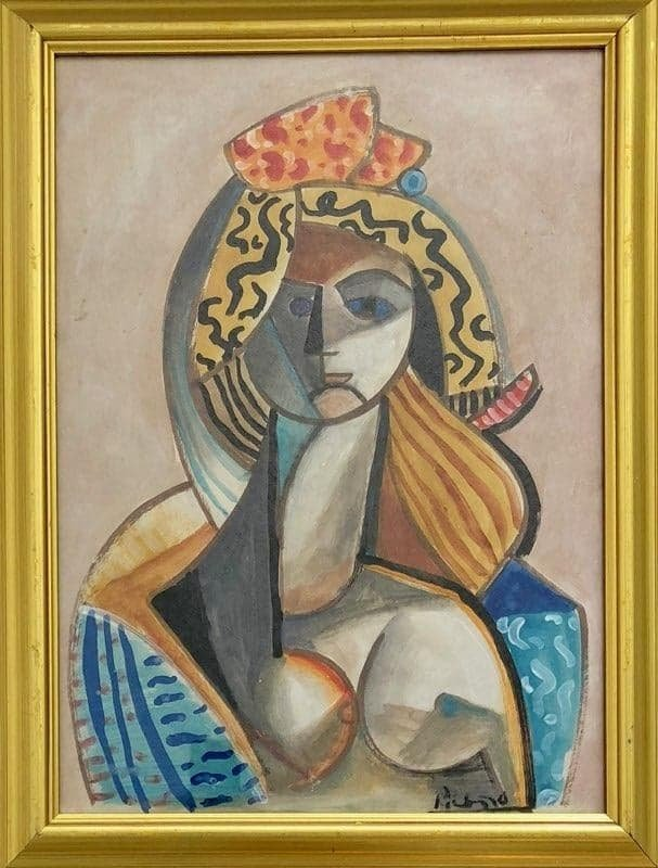 Pablo Picasso (1881-1973)-Ink and water color on Paper-