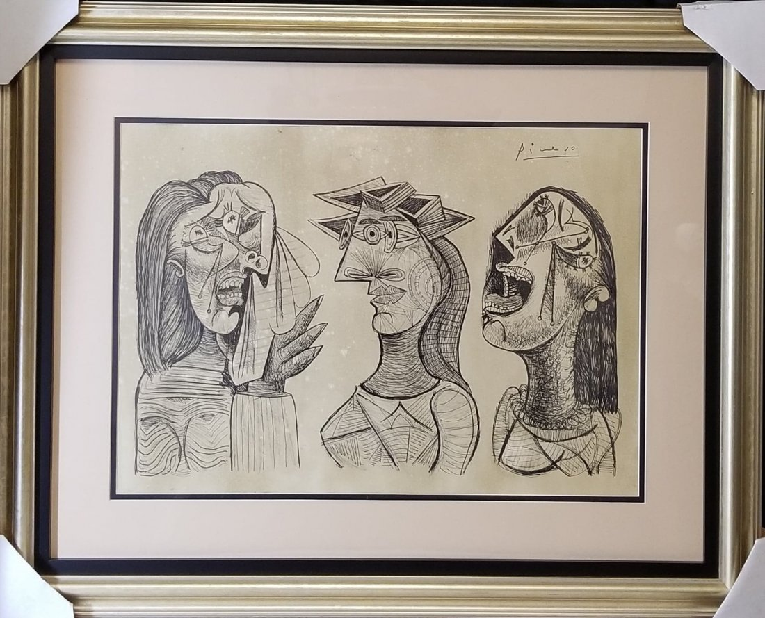 Pablo Picasso (1881-1973)-Ink on Paper- Dedicated ATTRI