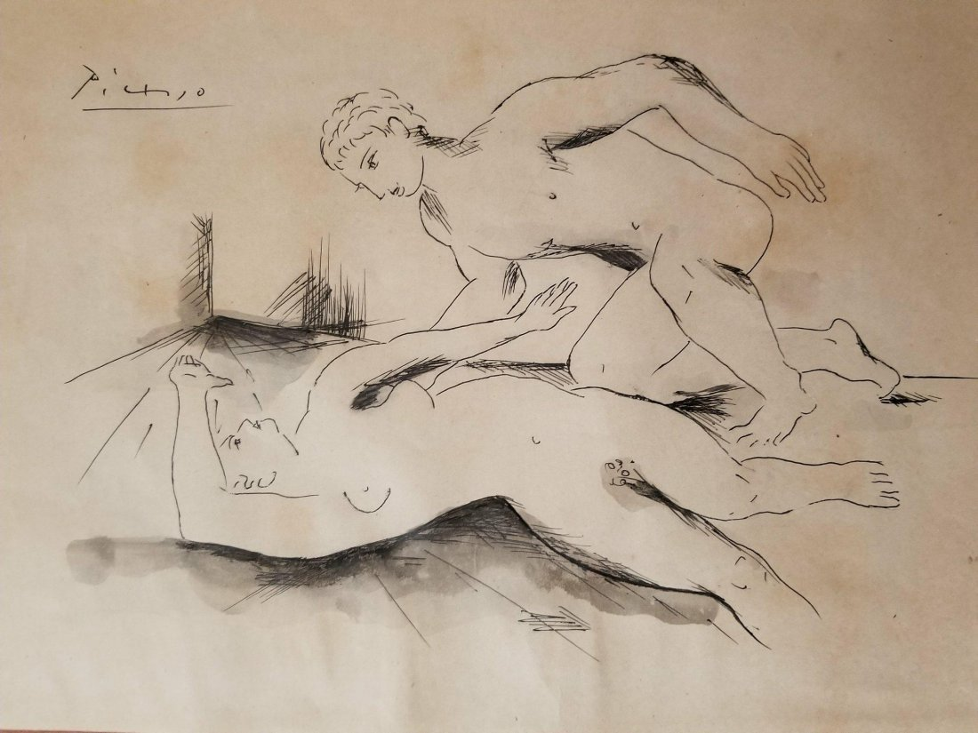 Pablo Picasso (1881-1973)-Ink -water color on paper