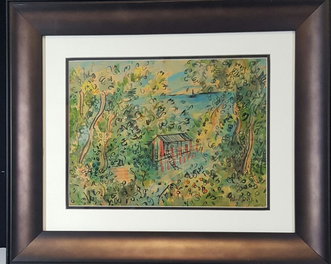 """Raoul Dufy-Water color on paper- Attrib. COA-Size:9\""""h"""