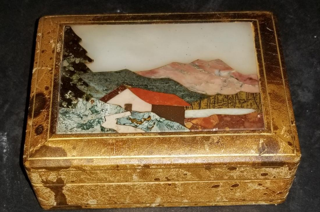 Pietra Dura and Leather Box- Antique- good condition-