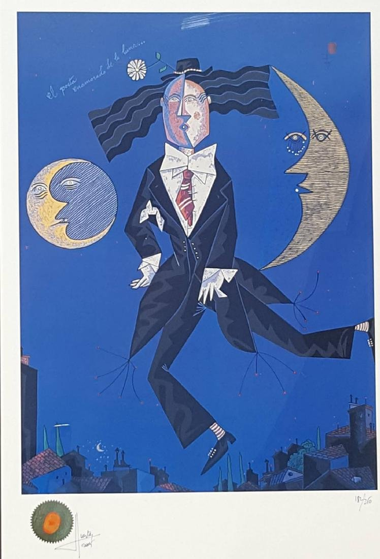Jesus Fuertes The Poet in Love With the Moon, Serigraph