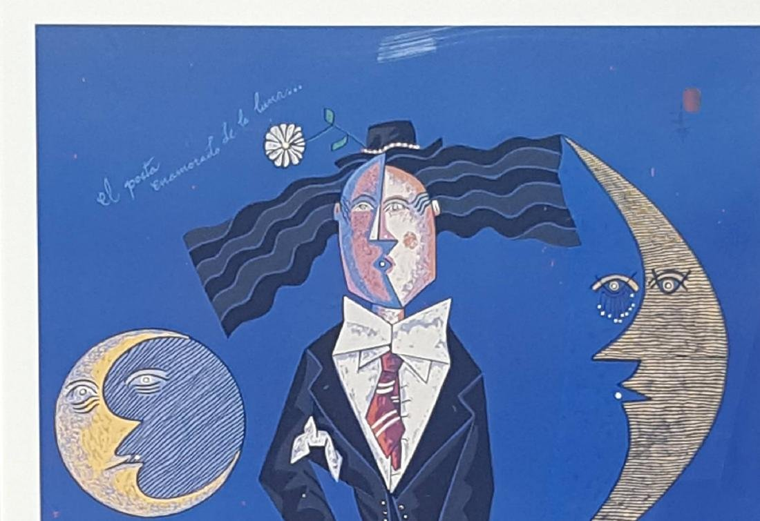 Jesus Fuertes The Poet in Love With the Moon, Serigraph - 2
