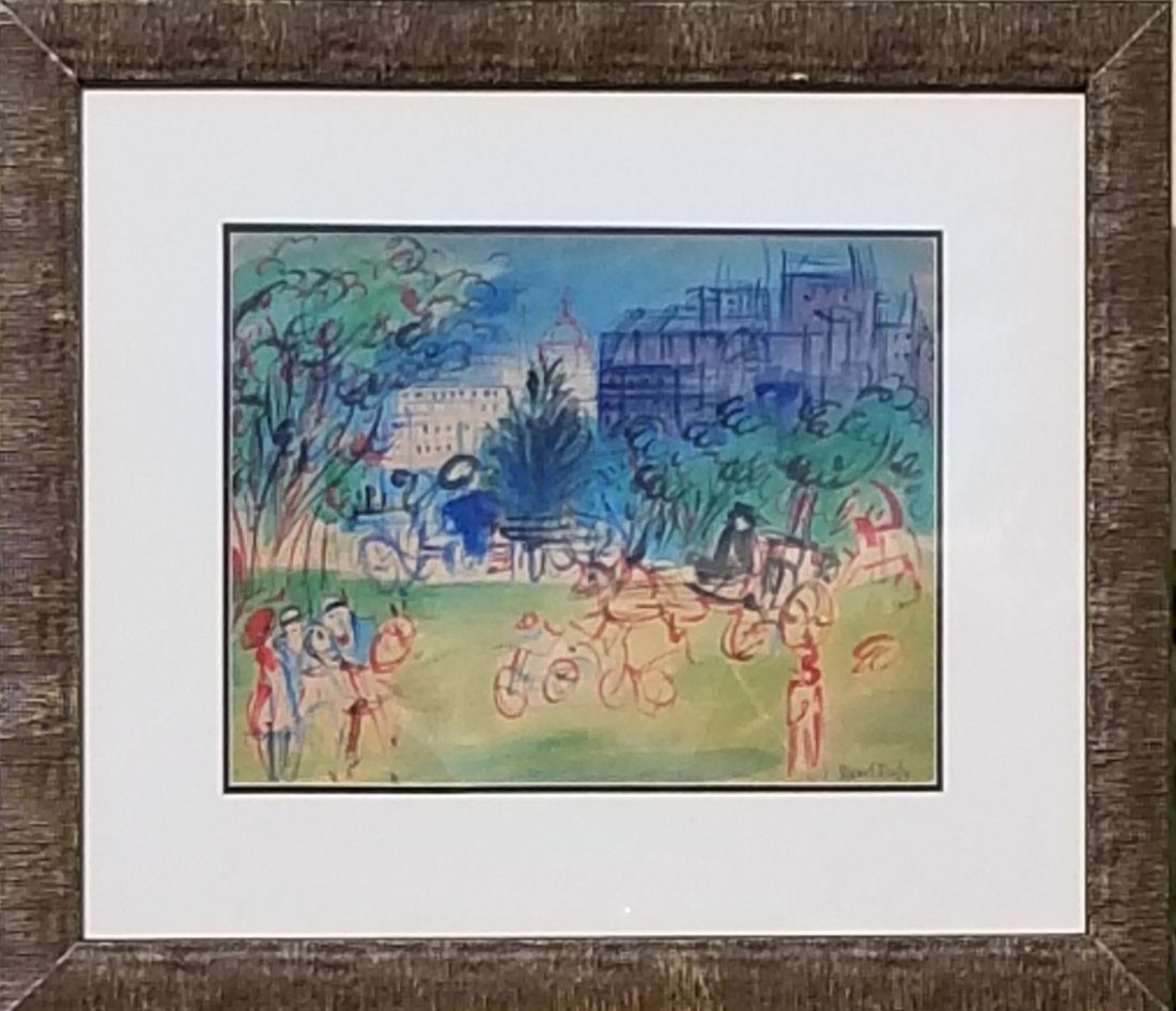 """Raoul Dufy-Water color on paper- Attrib. COA-Size:14""""h"""