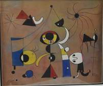 """Joan Miro oil/paper, measures 20x14""""w- Shipping within"""