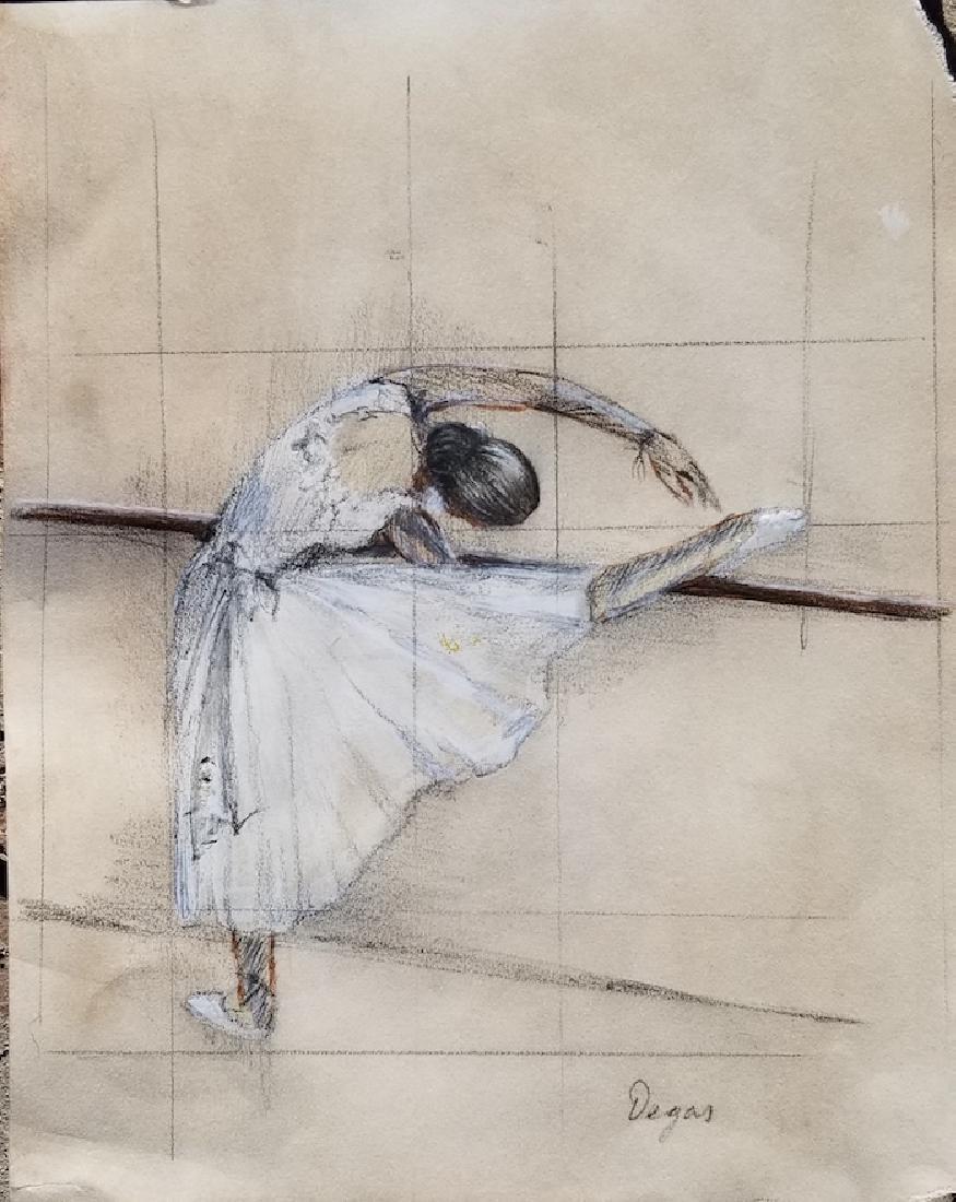Edgar Degas-Girl dancer-Colored pastel on paper(Attrib-